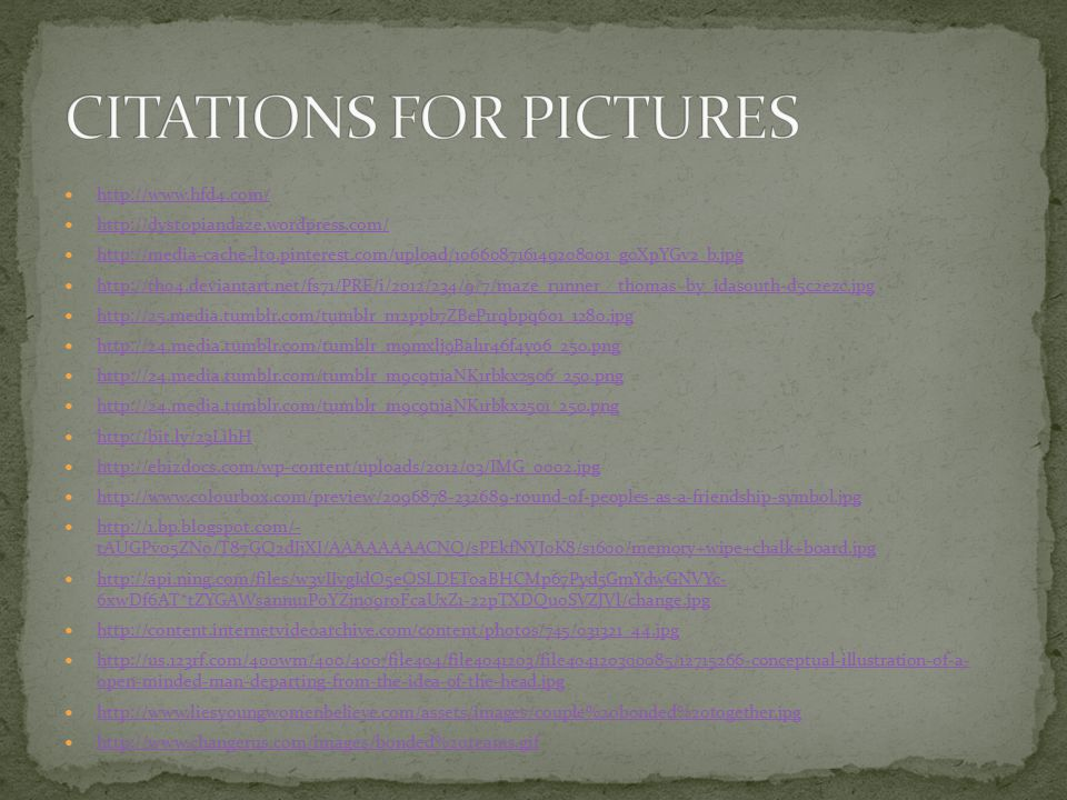 CITATIONS FOR PICTURES