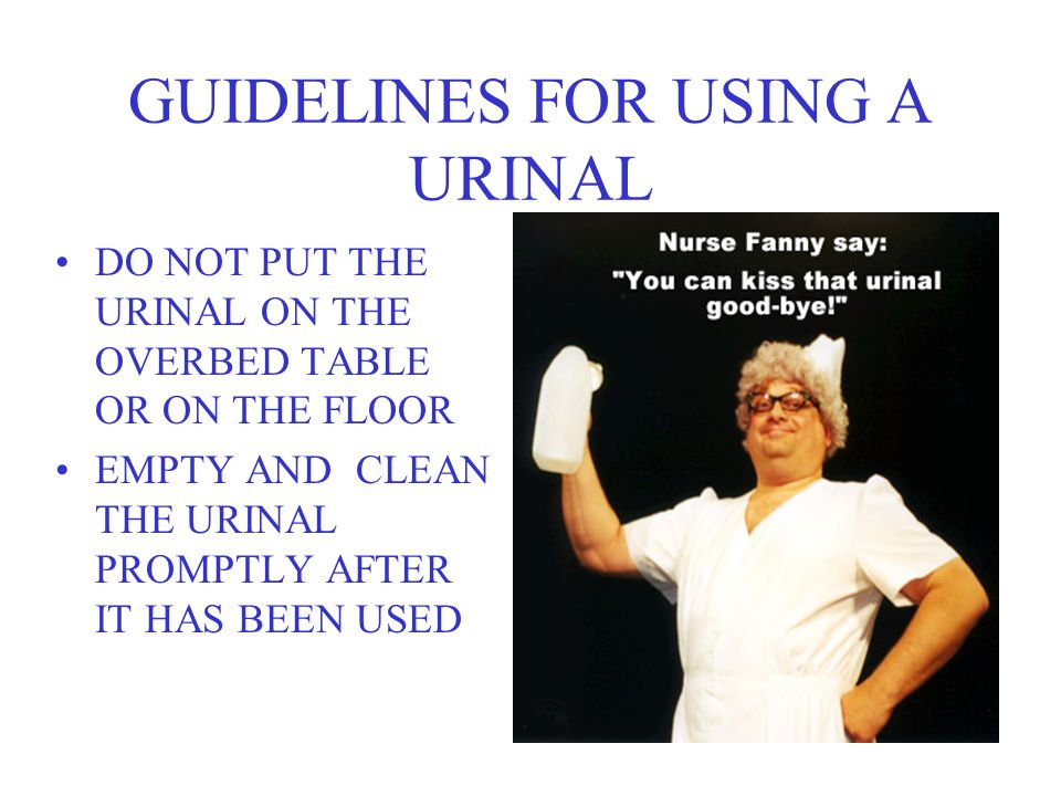 GUIDELINES FOR USING A URINAL