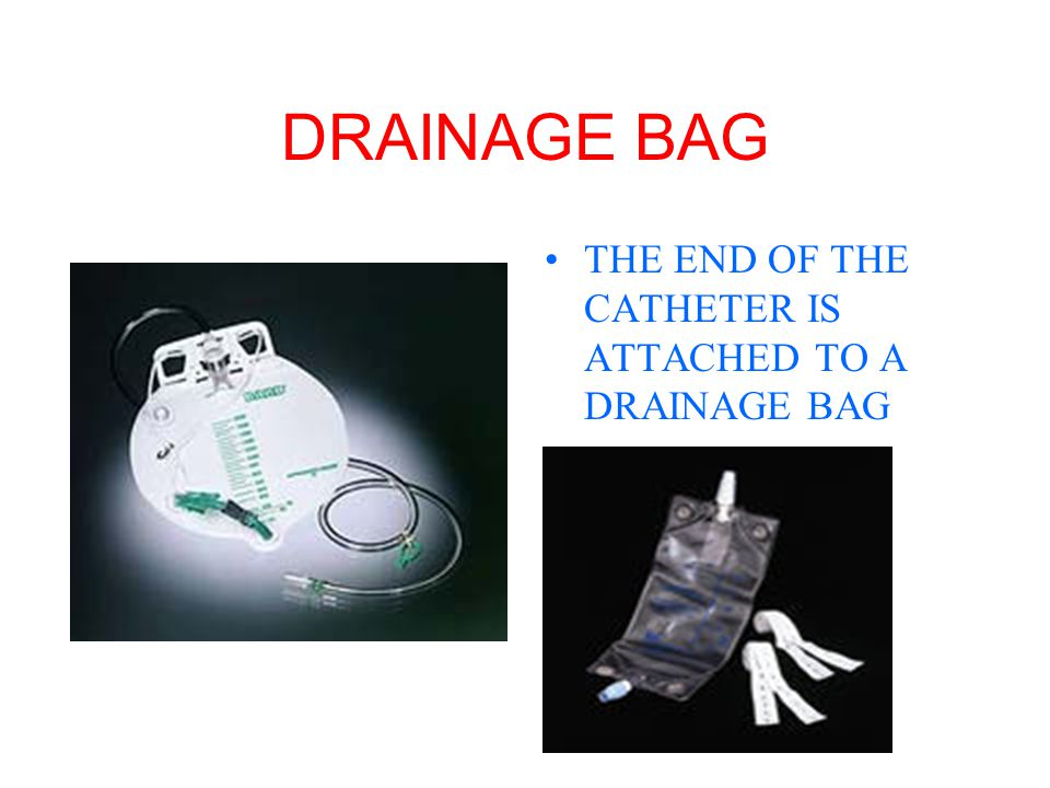 DRAINAGE BAG THE END OF THE CATHETER IS ATTACHED TO A DRAINAGE BAG