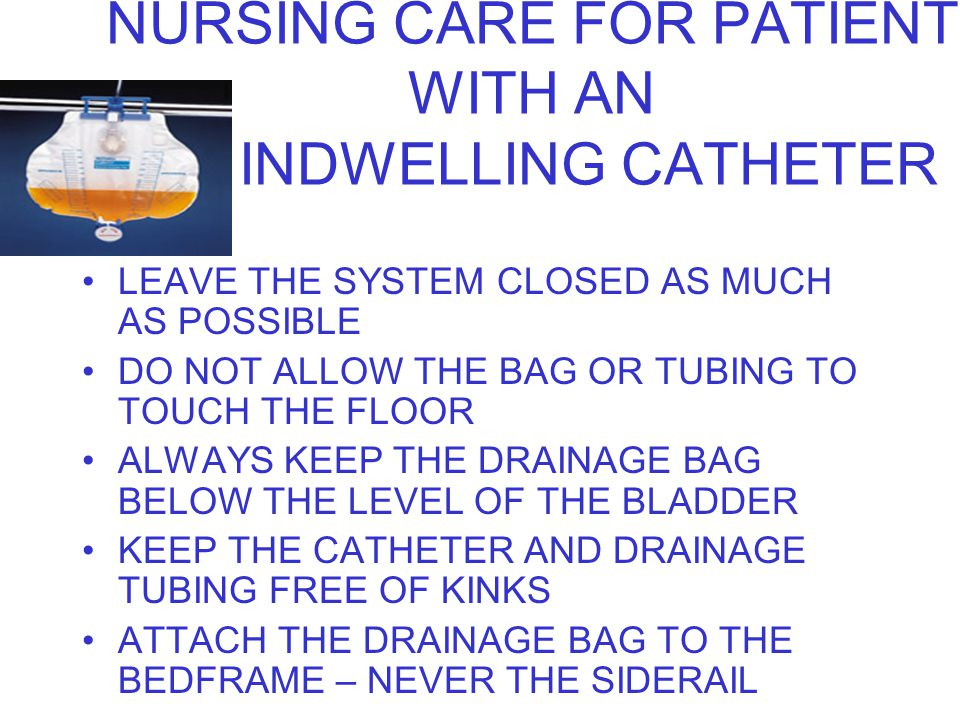 NURSING CARE FOR PATIENT WITH AN INDWELLING CATHETER