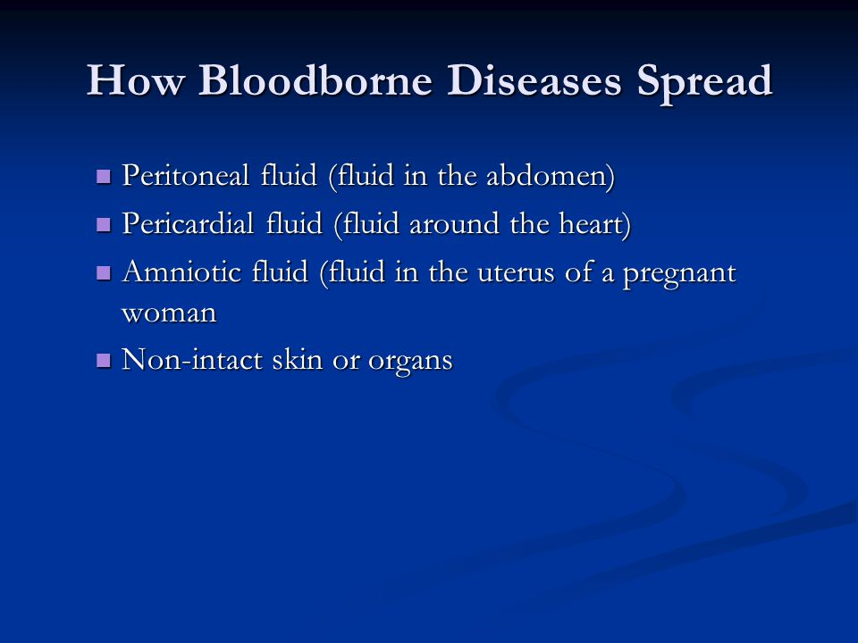 How Bloodborne Diseases Spread