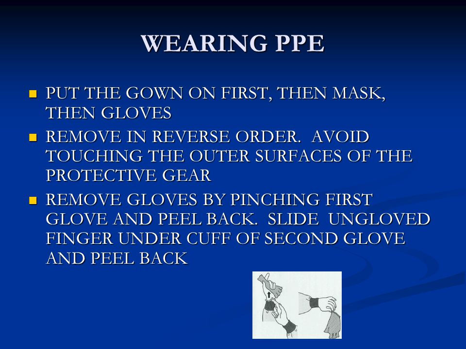 WEARING PPE PUT THE GOWN ON FIRST, THEN MASK, THEN GLOVES