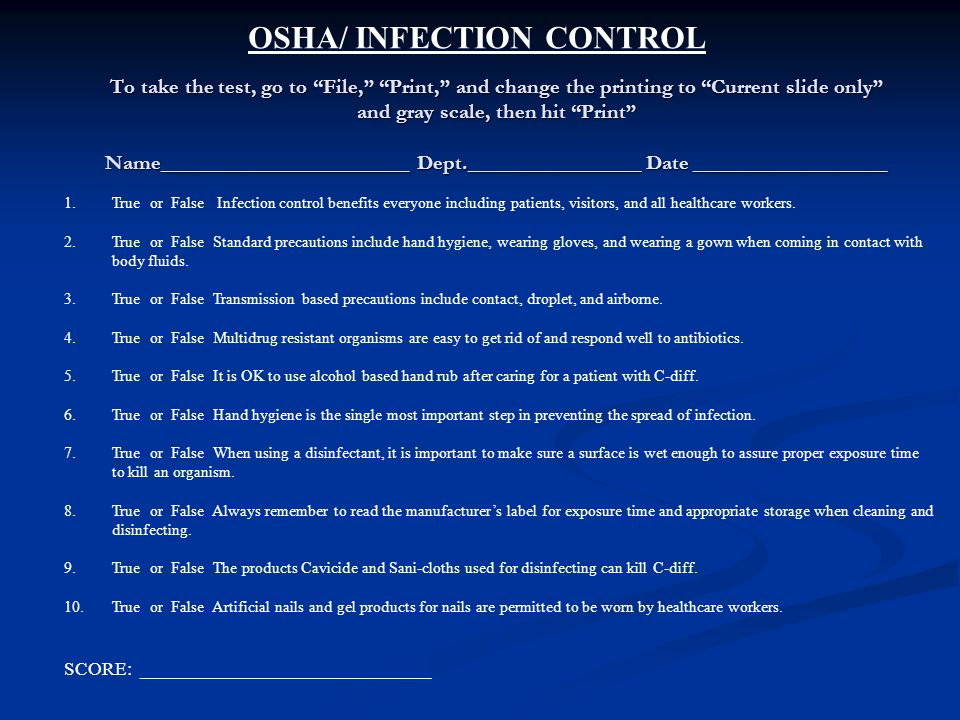 OSHA/ INFECTION CONTROL