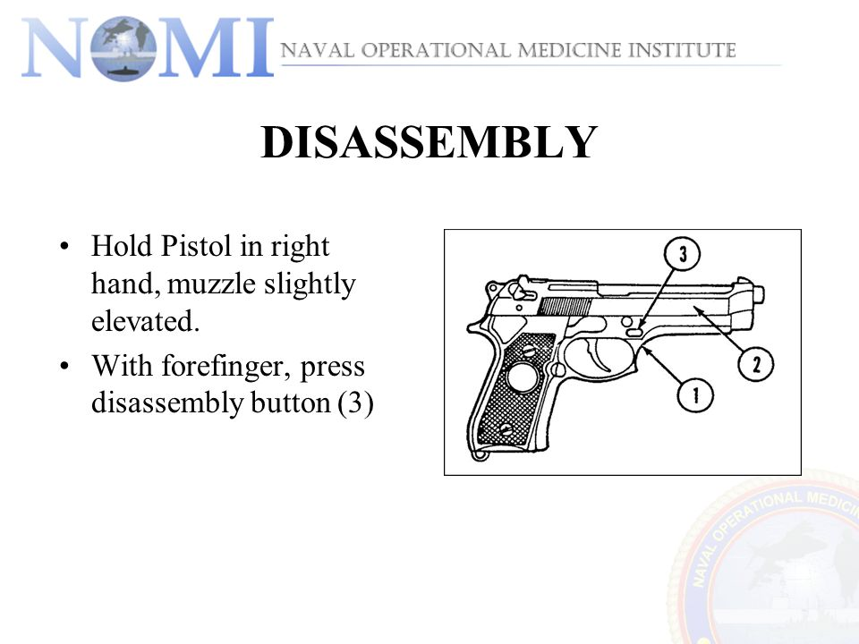 DISASSEMBLY Hold Pistol in right hand, muzzle slightly elevated.