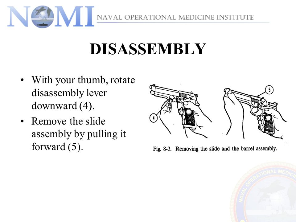 DISASSEMBLY With your thumb, rotate disassembly lever downward (4).