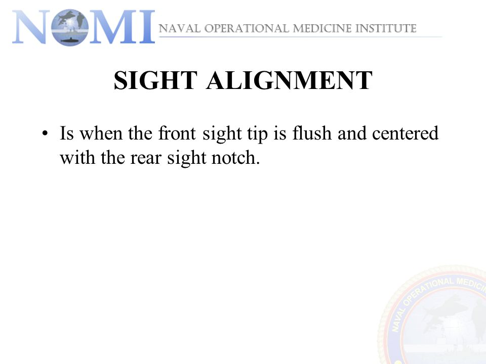 SIGHT ALIGNMENT Is when the front sight tip is flush and centered with the rear sight notch.