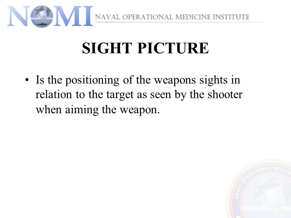 SIGHT PICTURE Is the positioning of the weapons sights in relation to the target as seen by the shooter when aiming the weapon.