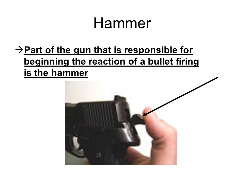 Hammer Part of the gun that is responsible for beginning the reaction of a bullet firing is the hammer.