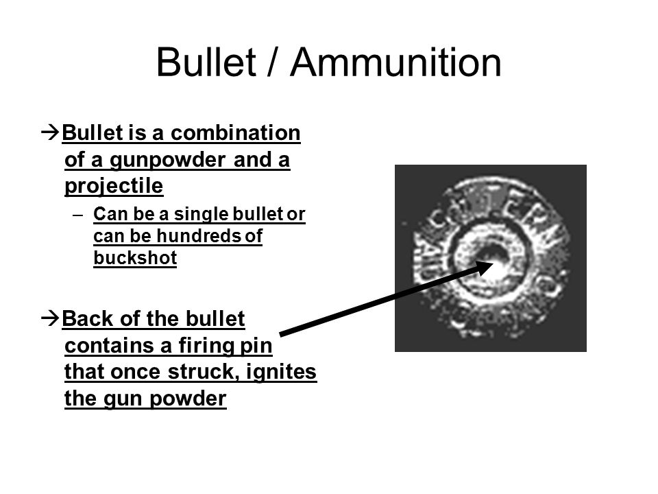 Bullet / Ammunition Bullet is a combination of a gunpowder and a projectile. Can be a single bullet or can be hundreds of buckshot.