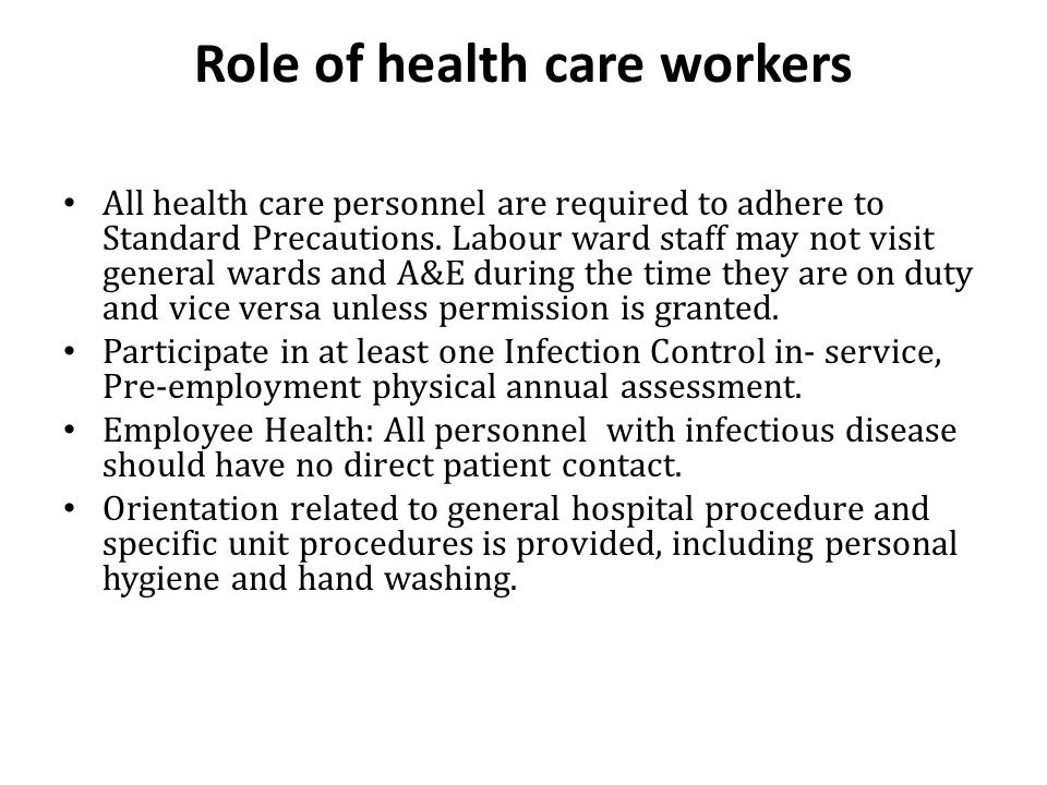 Role of health care workers
