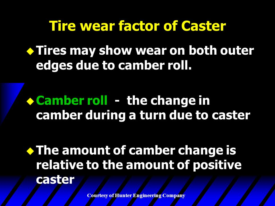 Tire wear factor of Caster