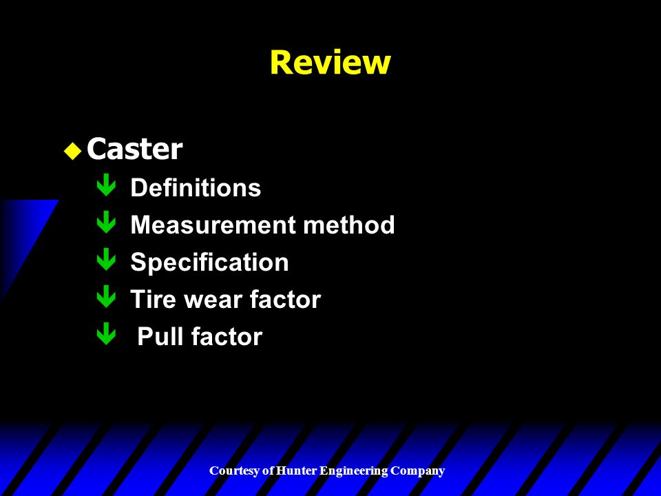 Review Caster Definitions Measurement method Specification