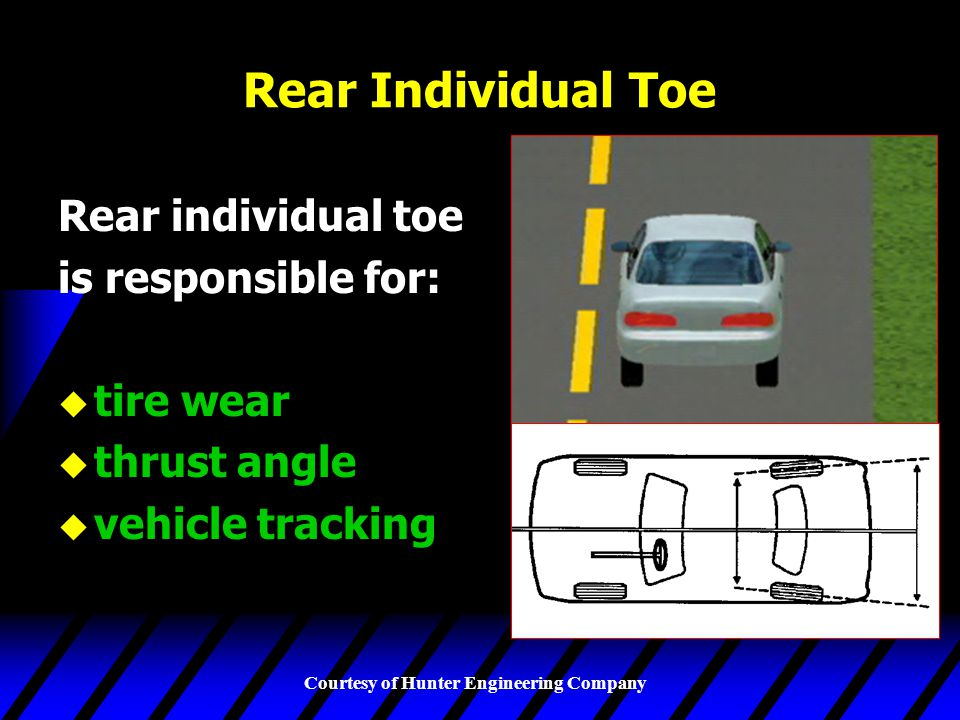 Rear Individual Toe Rear individual toe is responsible for: tire wear