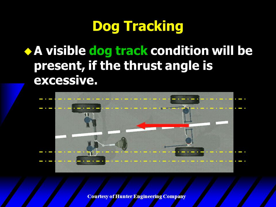 Dog Tracking A visible dog track condition will be present, if the thrust angle is excessive.