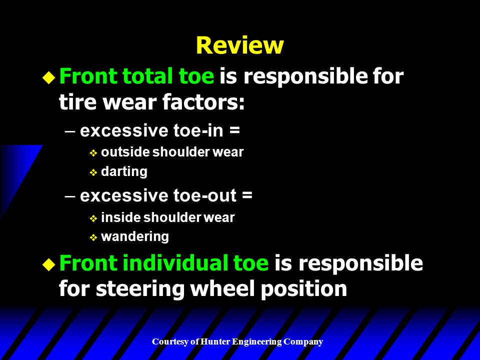 Review Front total toe is responsible for tire wear factors: