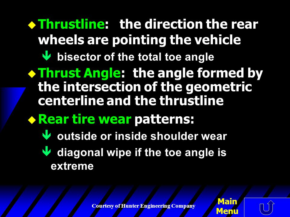 Thrustline: the direction the rear wheels are pointing the vehicle