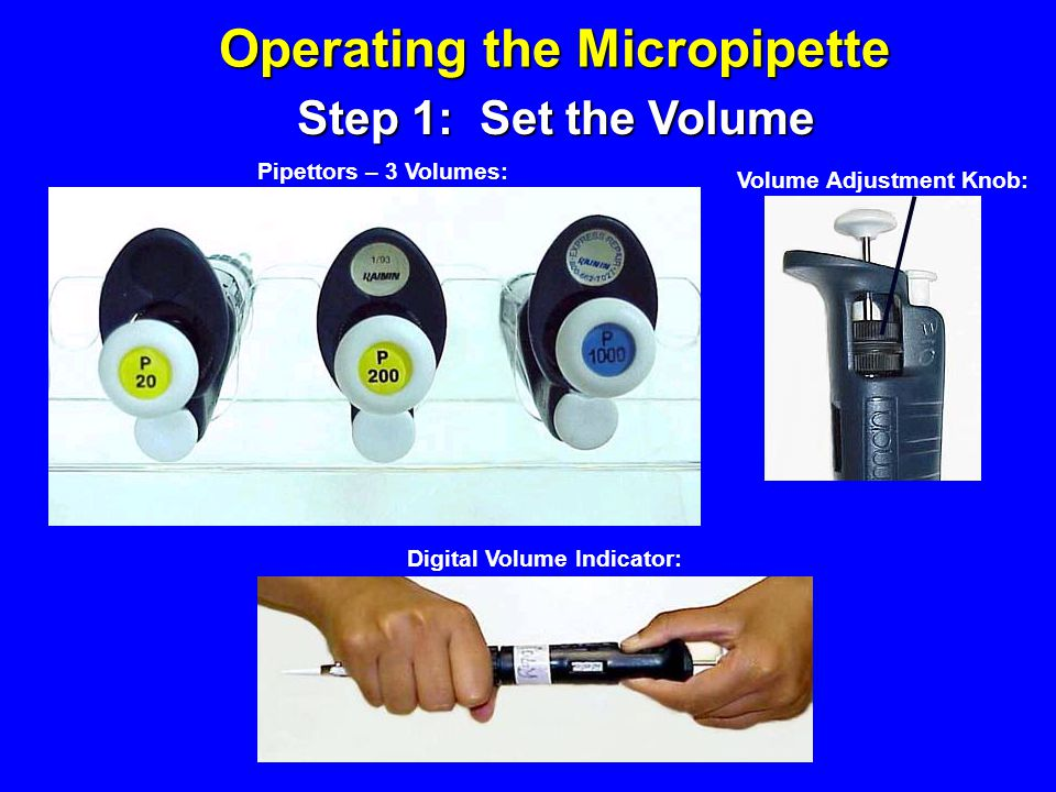 Operating the Micropipette Digital Volume Indicator: