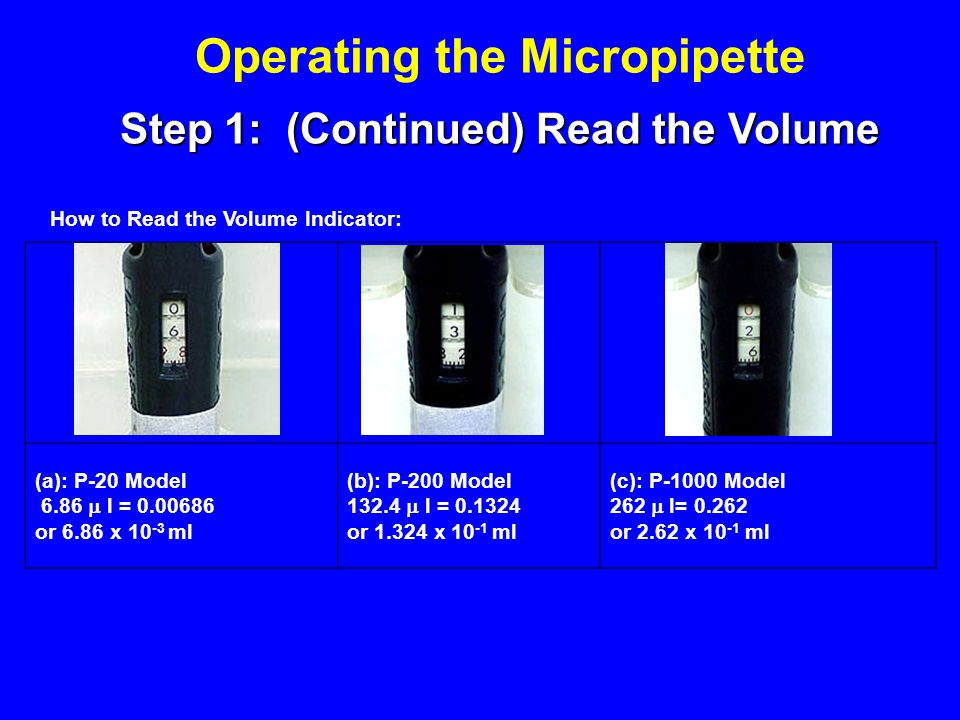 Operating the Micropipette Step 1: (Continued) Read the Volume