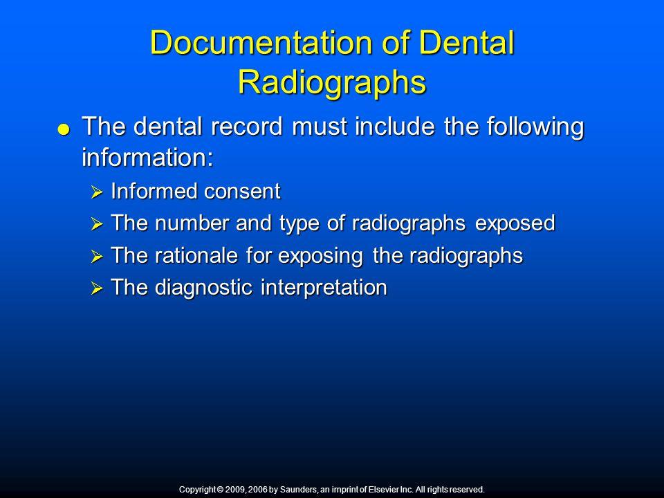 Documentation of Dental Radiographs