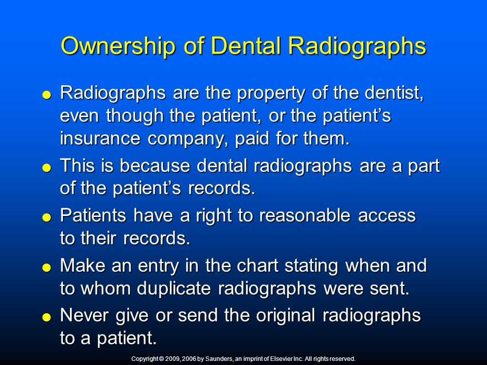 Ownership of Dental Radiographs