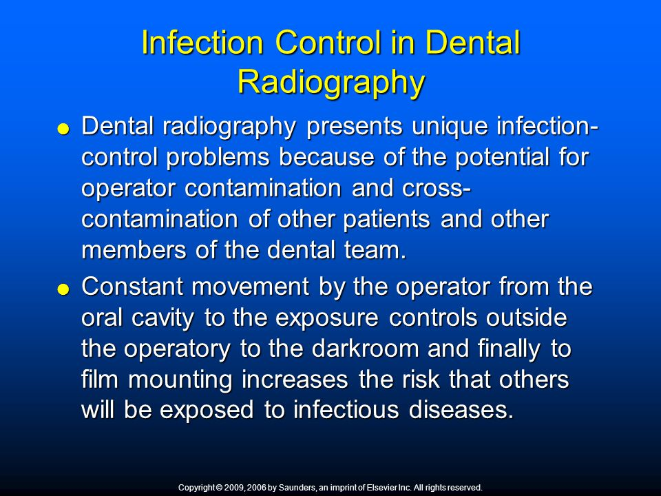 Infection Control in Dental Radiography