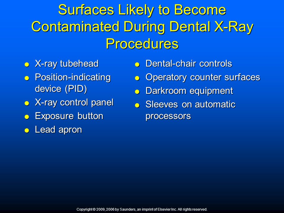 Surfaces Likely to Become Contaminated During Dental X-Ray Procedures