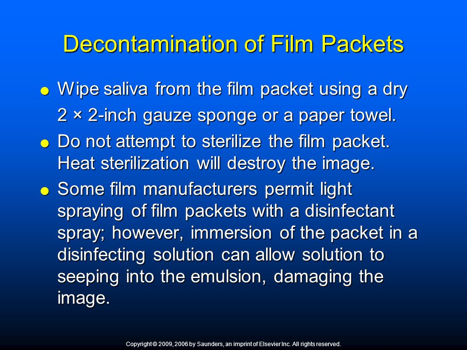Decontamination of Film Packets