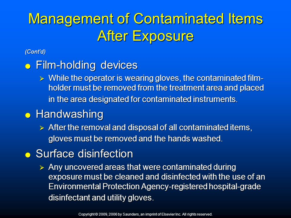 Management of Contaminated Items After Exposure