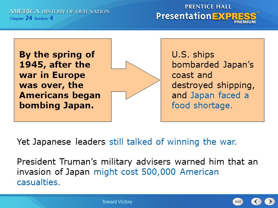 By the spring of 1945, after the war in Europe was over, the Americans began bombing Japan.