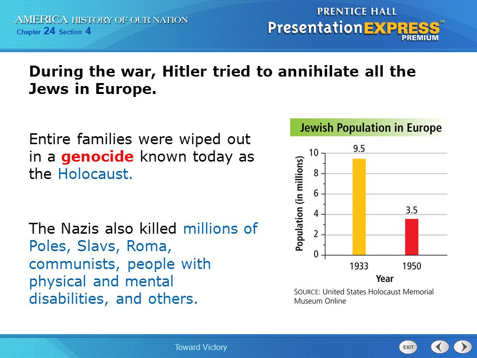During the war, Hitler tried to annihilate all the Jews in Europe.
