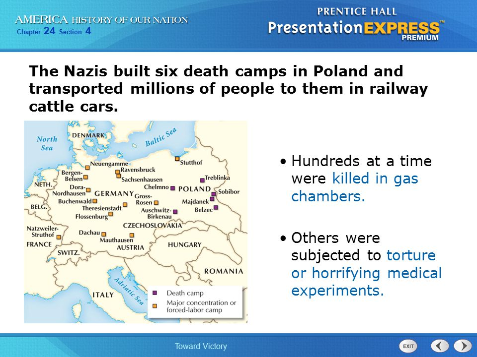 The Nazis built six death camps in Poland and transported millions of people to them in railway cattle cars.