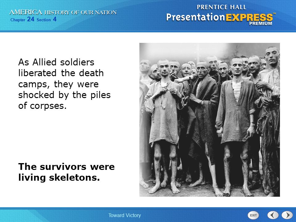 As Allied soldiers liberated the death camps, they were shocked by the piles of corpses.