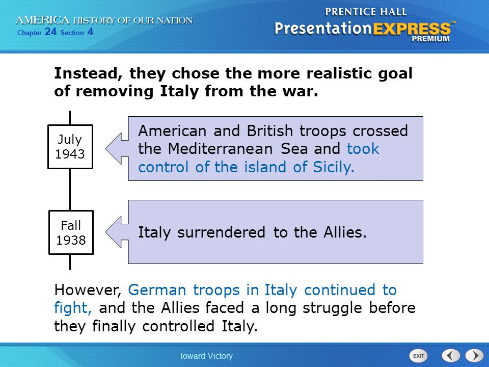 Italy surrendered to the Allies.