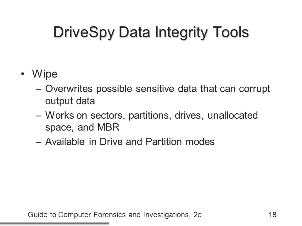 DriveSpy Data Integrity Tools