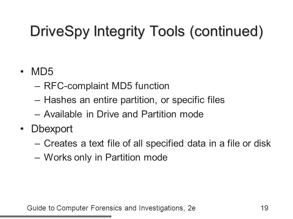 DriveSpy Integrity Tools (continued)