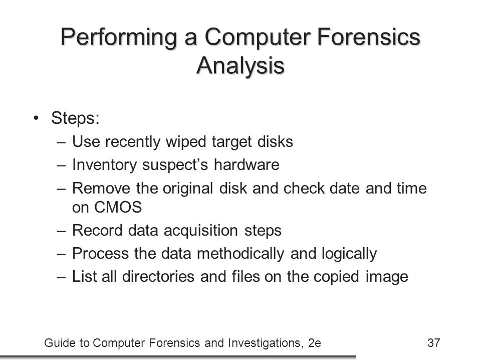 Performing a Computer Forensics Analysis