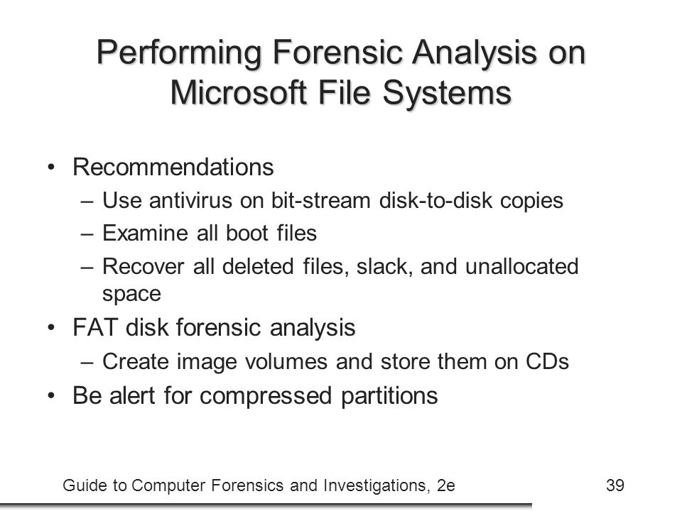 Performing Forensic Analysis on Microsoft File Systems