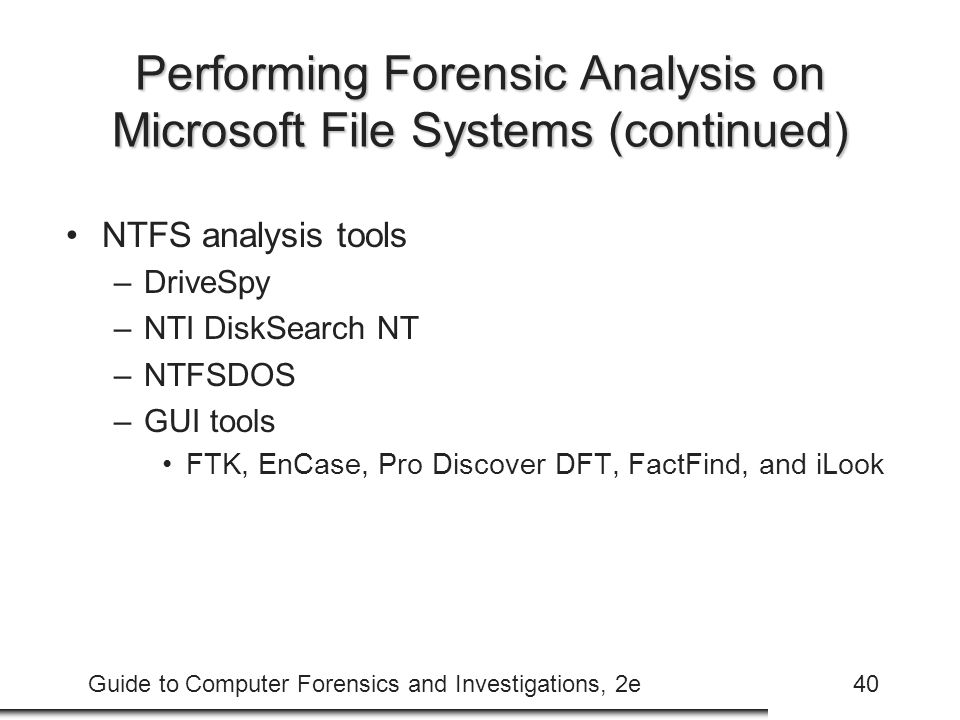 Performing Forensic Analysis on Microsoft File Systems (continued)