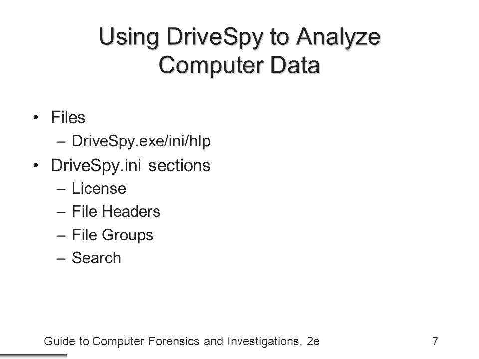 Using DriveSpy to Analyze Computer Data