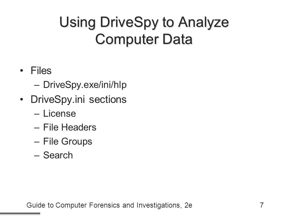 Using DriveSpy to Analyze Computer Data