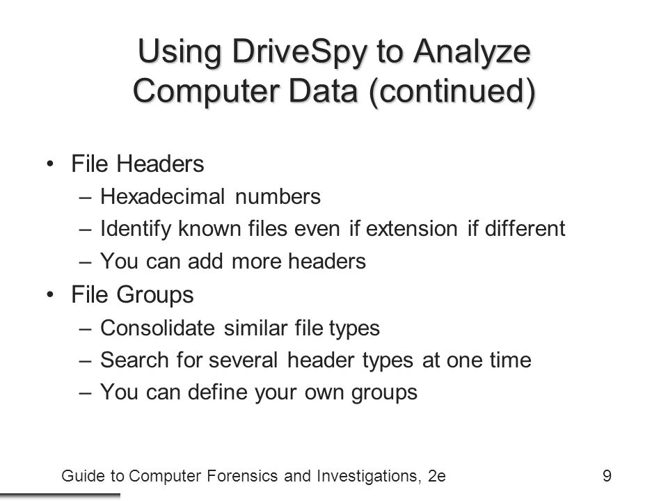 Using DriveSpy to Analyze Computer Data (continued)