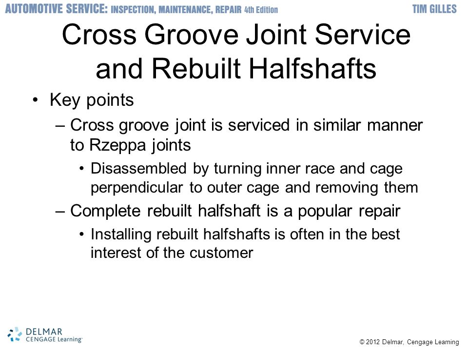 Cross Groove Joint Service and Rebuilt Halfshafts