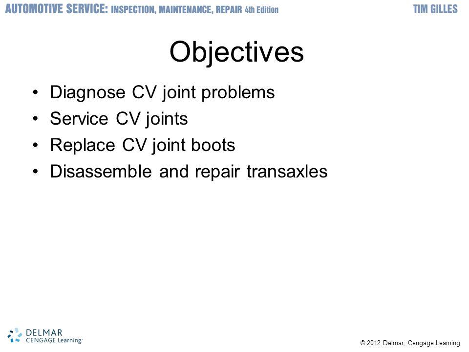 Objectives Diagnose CV joint problems Service CV joints