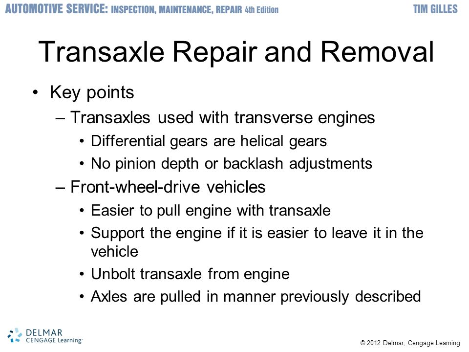 Transaxle Repair and Removal