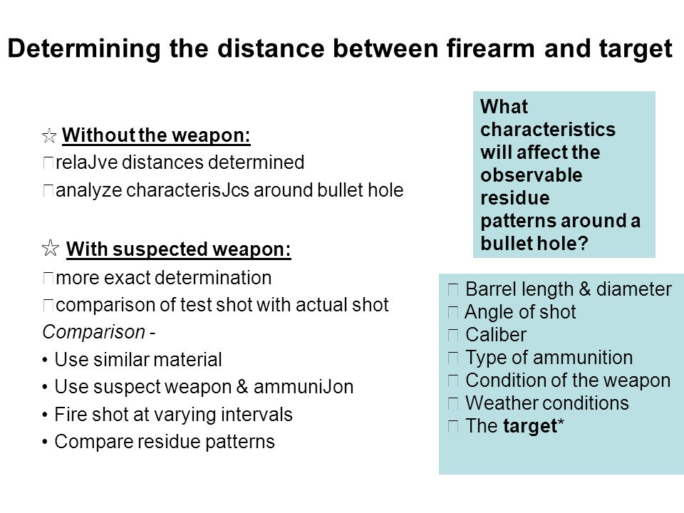 Determining the distance between firearm and target