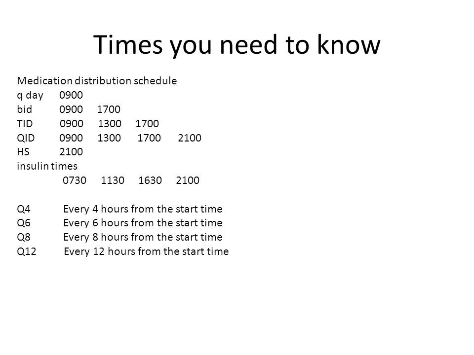 Times you need to know Medication distribution schedule q day 0900