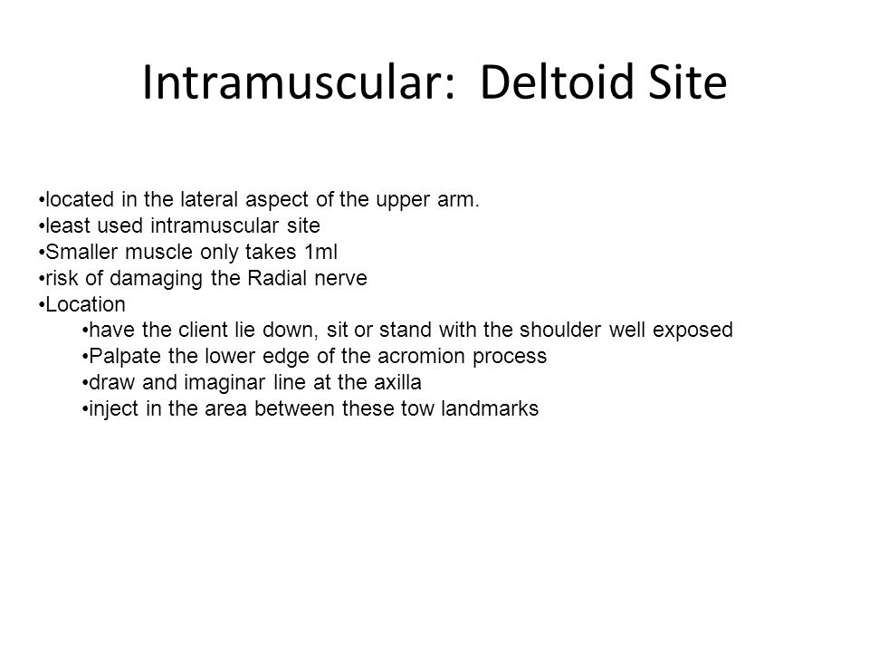 Intramuscular: Deltoid Site