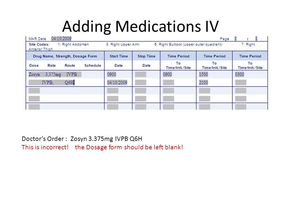 Adding Medications IV Doctor's Order : Zosyn 3.375mg IVPB Q6H