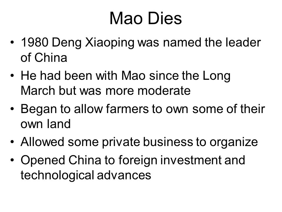 Mao Dies 1980 Deng Xiaoping was named the leader of China