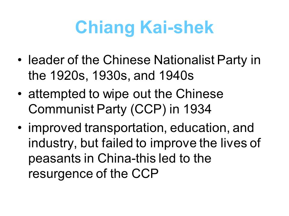 Chiang Kai-shek leader of the Chinese Nationalist Party in the 1920s, 1930s, and 1940s.